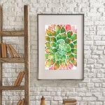 Wall Art Botanical, Wall Hanging Print, Frame Print, Succulent Print, Succulent, Watercolor Succulent, House Warming Gift, Succulent Art