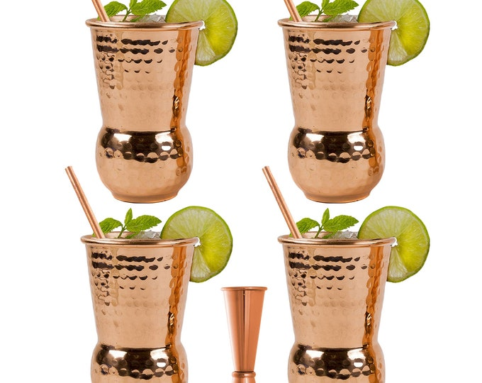 Featured listing image: EXTRA THICK HEFTY - set of 4 - Bonus a Jigger and 4 Straws | 20 Gauge Copper Mugs  |16 oz Hammered Design Handcrafted Tumblers