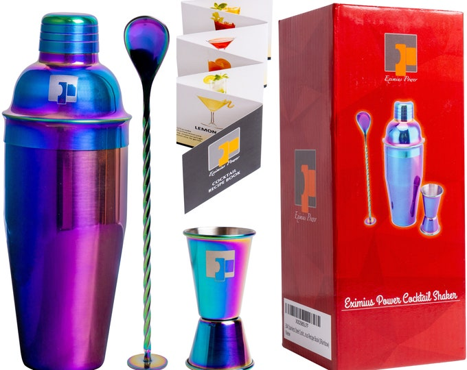 Featured listing image: Professional Stainless Steel 304 18/8 Grade 3pc Rainbow Cocktail Shaker Bar Kit - Accessories 25oz Shaker, Jigger, Mixing Spoon.