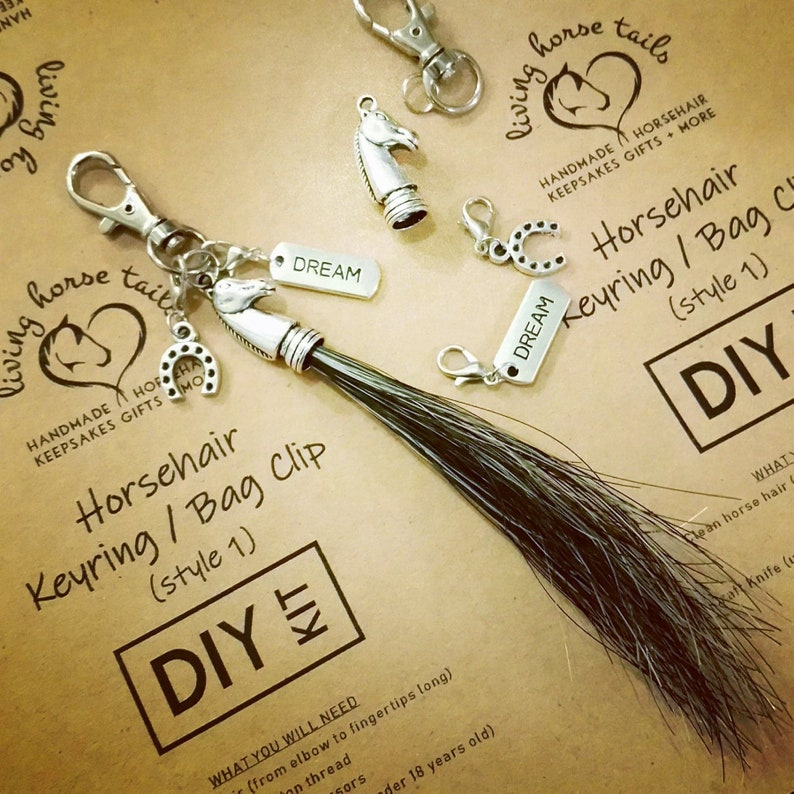 DIY Horse and Pony Activity Kit for Horsehair KeyRing / Bag Clip with  Charm  Christmas Stocking Filler or Birthday Gift Idea