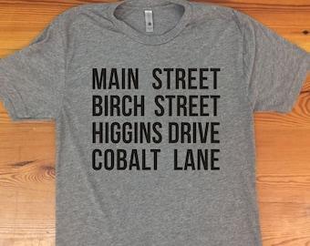 Jessica Jones - Main St Birch St Higgins Dr Cobalt Ln triblend tshirt