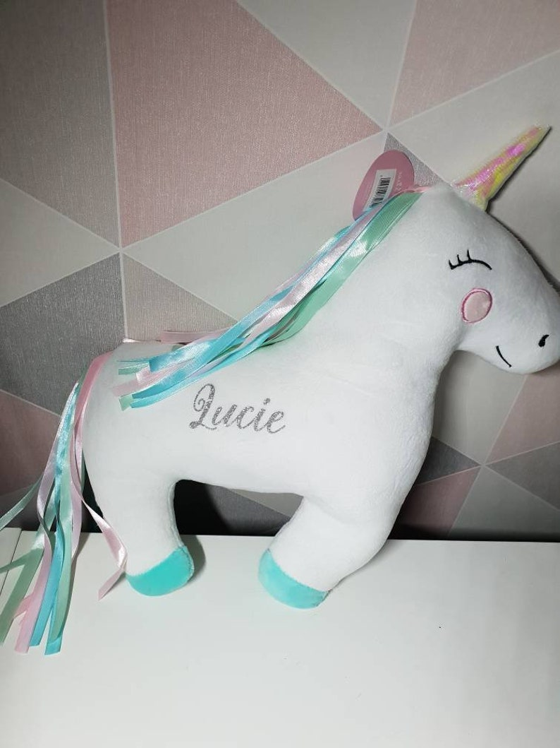 Personalised Rainbow Unicorn Toy Storage Bag Sass And Belle