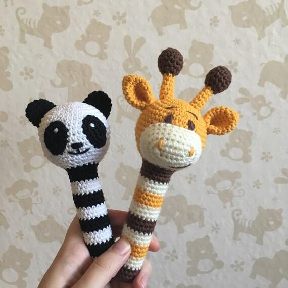 Häkeln Sie Tier Rassel Panda Rassel Rassel Bär Häkeln Etsy