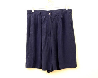 80s Retro Vintage Blue Silk Shorts in Women s Size 8 with a 32 inch waist b4d025ce3