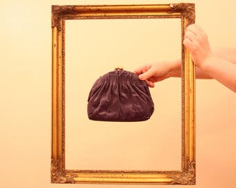 80s Era Vintage Ruched Purple Leather Clutch by Etra measuring 7.5 inch by 6 inch