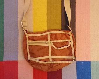 80s Era Vintage Beige Lightweight Crossbody Bag Purse