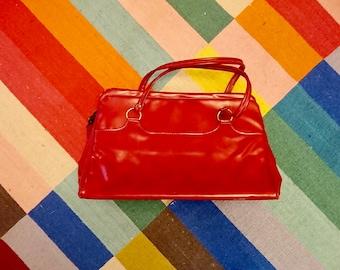 a8db7e7ff9c5 Retro Vintage Red Handle Bag Handbag Purse