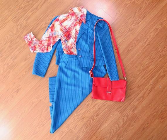 Vintage Skirt Suit, Blue Striped, 80s Era, Size 13