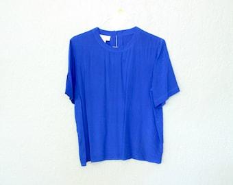 Vintage Blue Silk Short Sleeve Top in Women's Size Large