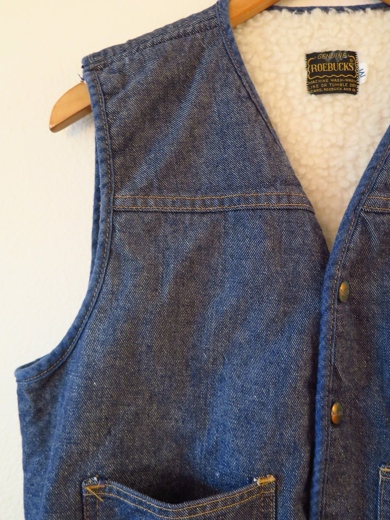 60s Era Vintage Roebuck/'s Lined Denim Jean Vest in Size Medium with pockets and a 38 inch waist