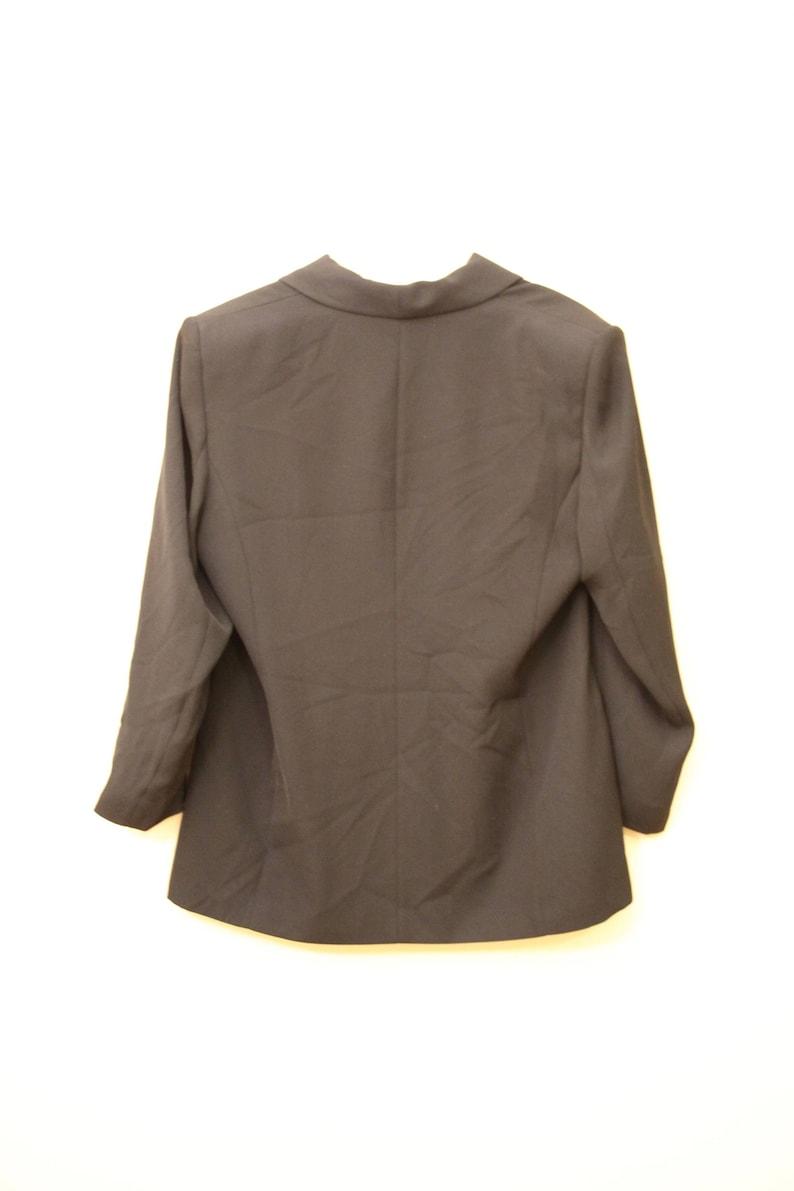 80s Era Vintage Minimalist Black A Line Blazer Jacket in Women/'s Size 14 with a 38 inch waist