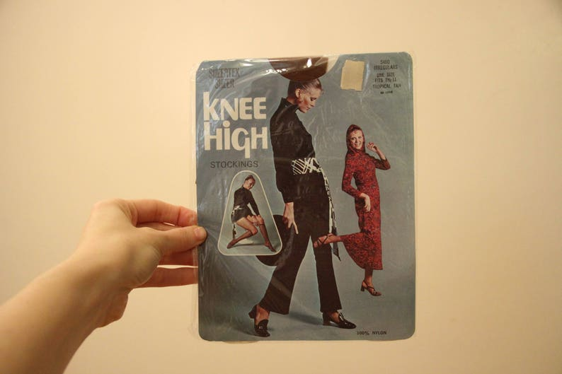 70s Era Vintage Tropical Tan One Size Knee High Socks Deadstock in Original Vintage Packaging