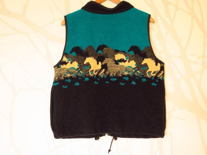 90s Era Vintage Wild Horses Teal Fleece Vest in Women/'s Size Medium with a 44 inch waist