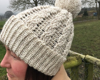 Ladies Hat - Wooly Hat - Bobble Hat - Cabled Hat - Cables - Wide Brim Hat - Ski Hat - Pom pom hat - Beanie - Warm Hat - Ctocheted Hat - Wool
