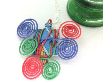 Puzzle necklace, telephone wire, wire jewellery, bright jewelry, red green and blue, jigsaw puzzle piece, gift for her, unique teachers gift
