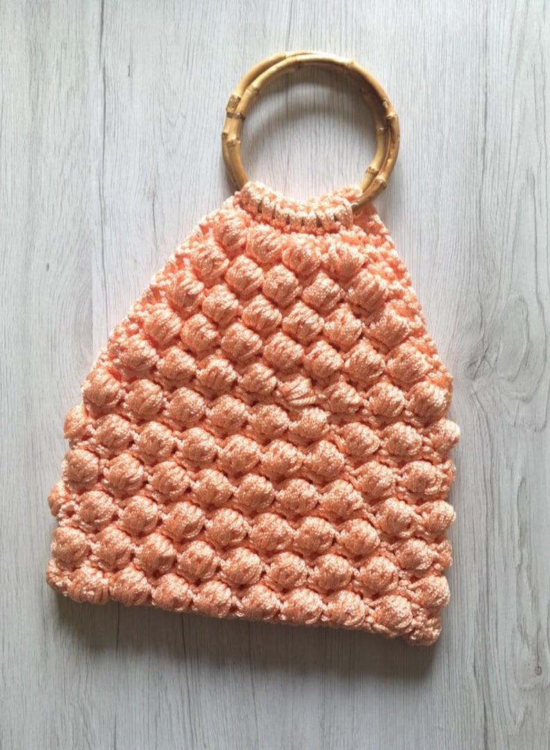 Summer crochet handbag girl handbag with bamboo handles crochet bag crochet peach bag