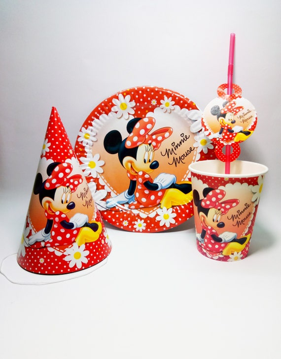 sc 1 st  Etsy & Minnie Mouse paper tableware. Minnie Mouse Paper plates cups