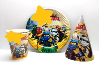 NINJAGO Paper tableware NINJAGO Paper plates cups party hats for childrenu0027s party holiday or birthday NINJAGO Lego party set decorations  sc 1 st  Etsy & Lego paper plates | Etsy