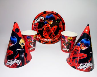 Miraculous Ladybug paper tableware. Lady bug Paper plates, cups, party hats for children's party or birthday. Lady Bug party set.
