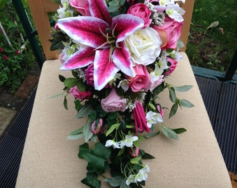 Pink cascading shower, silk wedding flowers
