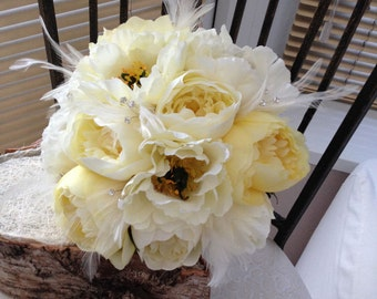 Jewelled lemon and cream peonies silk wedding bouquet