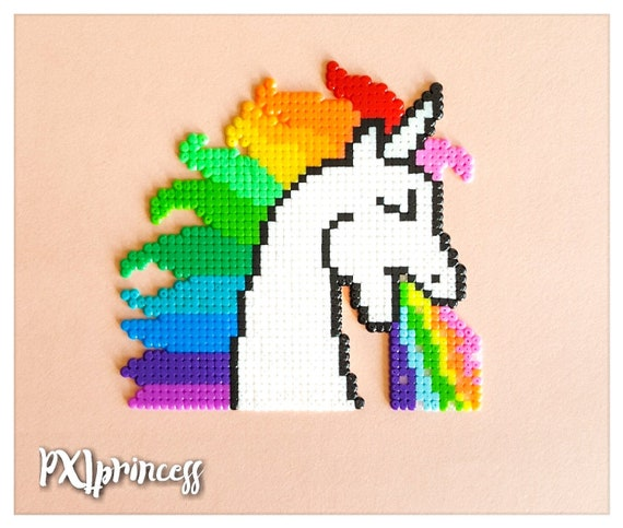 Rainbow Puking Unicorn Pixel Art Magnet Perler Hama Perles Etsy