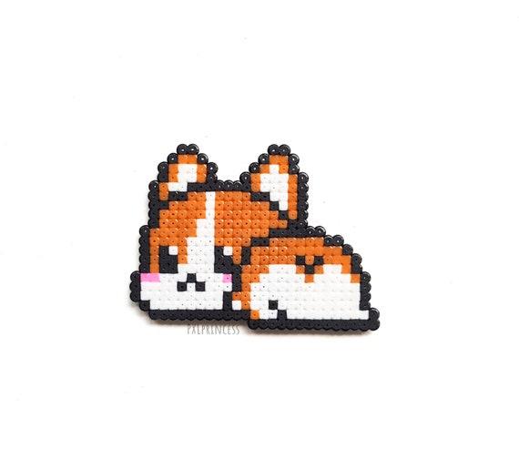 Corgi Butt Aimant Pixel Art Corgi Chien 8 Bits Chibi Aimant à Fourrure Hama Perler Perles Kawaii Cadeau