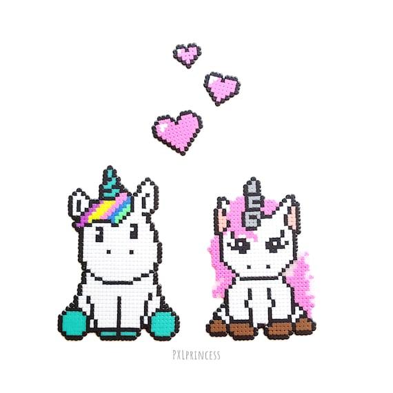 Unicorn Pixel Art Sprites Perler Hama Beads Unicorn Home Decor 8bit Kawaii Unicorn Gift