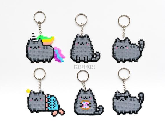 Pusheen Le Chat Porte Clé Pixel Art Pusheen Perler Hama Perles 8bit Kawaii Kitty Licorne Sirène