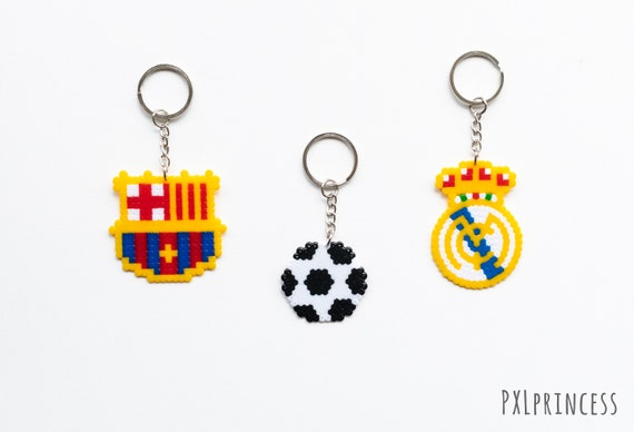 Real Madrid Football Soccer Barcelona Keychain Pixel Art Soccer Hama Perler Beads Sport Fan Champions League