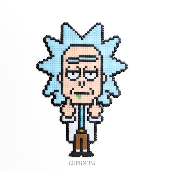Rick And Morty Sprite Pixel Art Tv Show Magnet Rick N Morty Hama Perler Beads