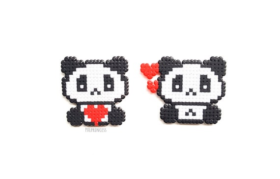 Banda Bear Sorites Pixel Art Cute Panda Perler Hama Beads 8bit Kawaii Panda Decor