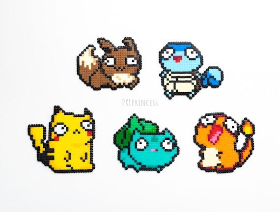 Derpy Pokemon Pixel Art Sprite Pikachu Hama Perler Beads Squirtle Bulbasaur Eevee Charmander 8 Bit