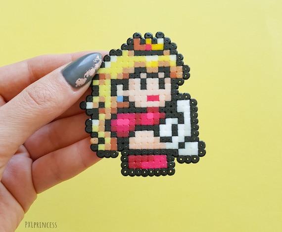 Princess Peach Pin Pixel Art Mario Kawaii Brooch Perler Hama Beads 8 Bit Nintendo Pin
