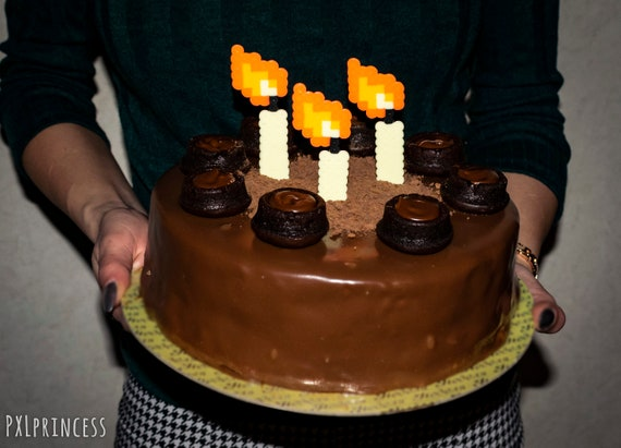 Anniversaire Bougie Pixel Art Cake Topper 8 Bit Bougie Danniversaire Hama Perler Mariage Fête Décoration Nintendo Jeu Vidéo