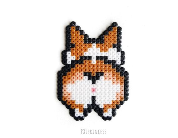 Corgi Dog Keychain Pixel Art Corgi Butt 8 Bit Shiba Golden Retriever Husky Bulldog Labrador Hama Perler Beads