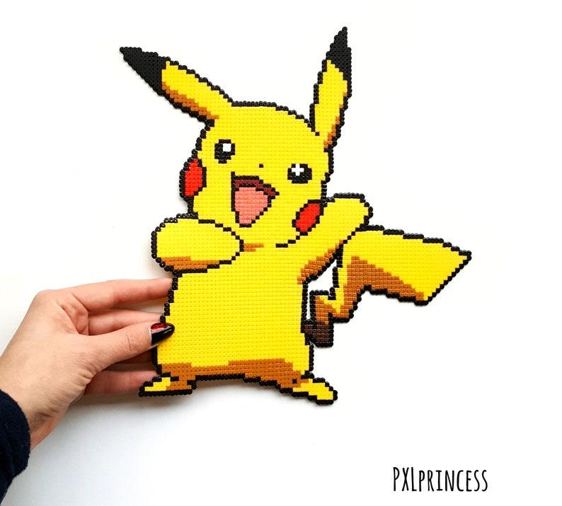 Pikachu pixel art Hama perler beads Pikachu Pokemon sprite