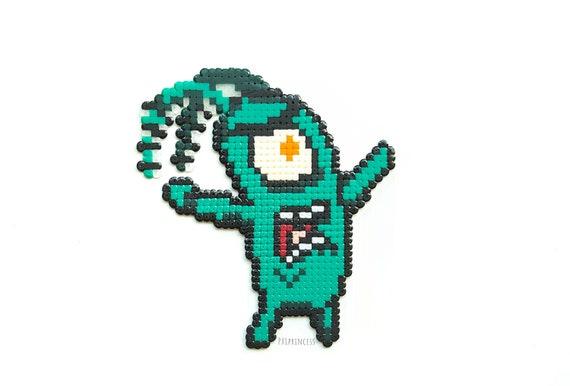 Plankton Magnet Pixel Art Tv Show Magnet Spongebob Hama Perler Etsy