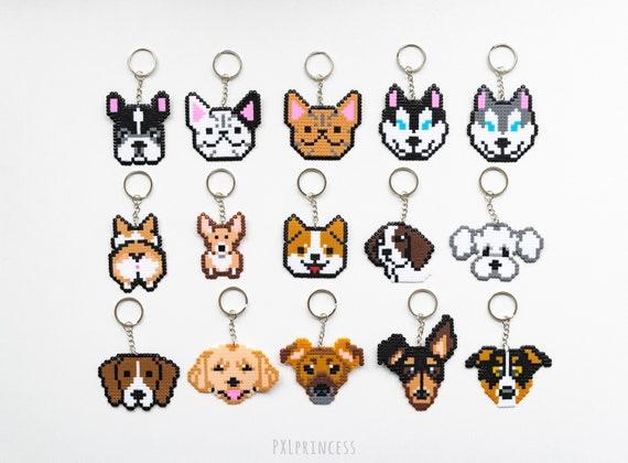 Corgi Chien Porte Clé Pixel Art Corgi Butt 8 Bit Shiba Golden Retriever Husky Bulldog Labrador Hama Perler Perles
