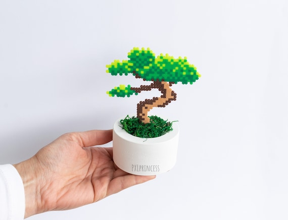 Bonsai Tree Pixel Plant In A Pot Artificial Plant Potted Plant Etsy