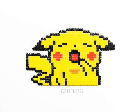 Sleepy Pikachu Pixel Art Sprite Hama Perler Beads Pikachu Pokemon Sprite Office Decor