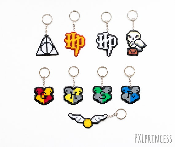 Harry Potter Inspired Keychain Pixel Art Harry Potter Hama Perler Beads Hogwarts House Crest Hedwig