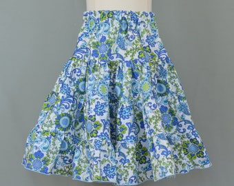 Girl's twirly skirt,Girls summer skirt,Girl's tiered skirt,Girl's ruffled skirt,Blue skirt,Flower print skirt