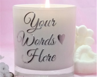 Personalised candle,create your own message candle gift, handmade soy scented candle
