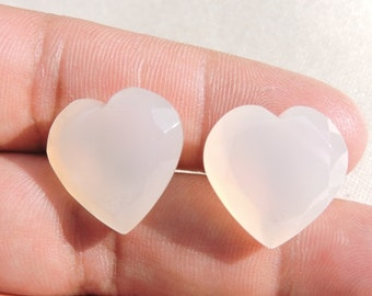 2 Pieces Extremely Beautiful Natural White Chalcedony Faceted Carved Heart Shaped Loose Gemstone Size 20X20 MM