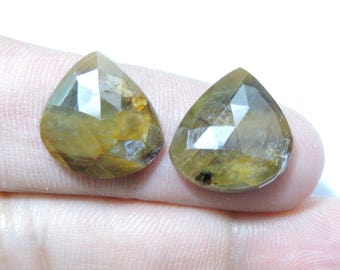 2 Pieces Very Attractive Natural Sapphire Faceted Rose Cut Fancy Shaped Loose Gemstone Size 16X16 MM