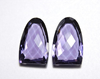 2 Pcs Very Attractive Purple Amethyst Quartz Faceted One Side Checker and One Side Table Cut Fancy Shaped Loose Gemstone Beads Size 25X15 MM