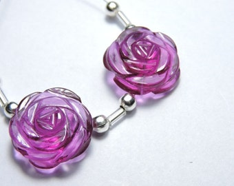 2 Pieces Extremely Beautiful Pink Quartz Hand Carved Rose Flower Shaped Beads Size 18X18 MM