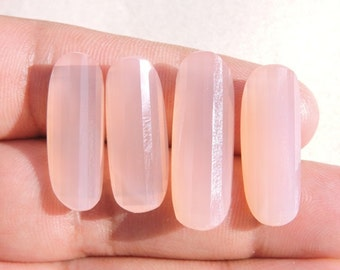 4 Pieces Beautiful Natural Rose Pink Chalcedony Faceted Curved Oval Loose Gemstone Size 25X10-29X10 MM