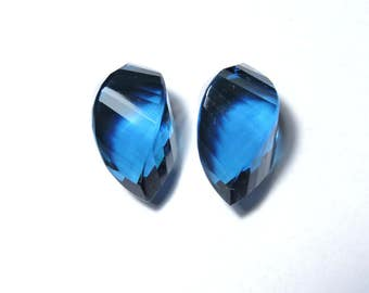 2 Pieces Extremely Beautiful Teal Blue Quartz Faceted Twisted Drops Briolette Size 19X10 MM